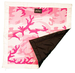 TwOOwls Pink Camo Blanket with White Silk edges-One size-Made in the USA