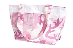 TwOOwls Pink camo Large bag with white silk-One size-Made in the USA