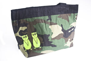 TwOOwls Green camo Large bag with black silk and green owls-One size-Made in the USA