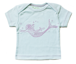 TwOOwls Turquoise/Pink Mermaid Short Sleeve Tee -100% organic cotton