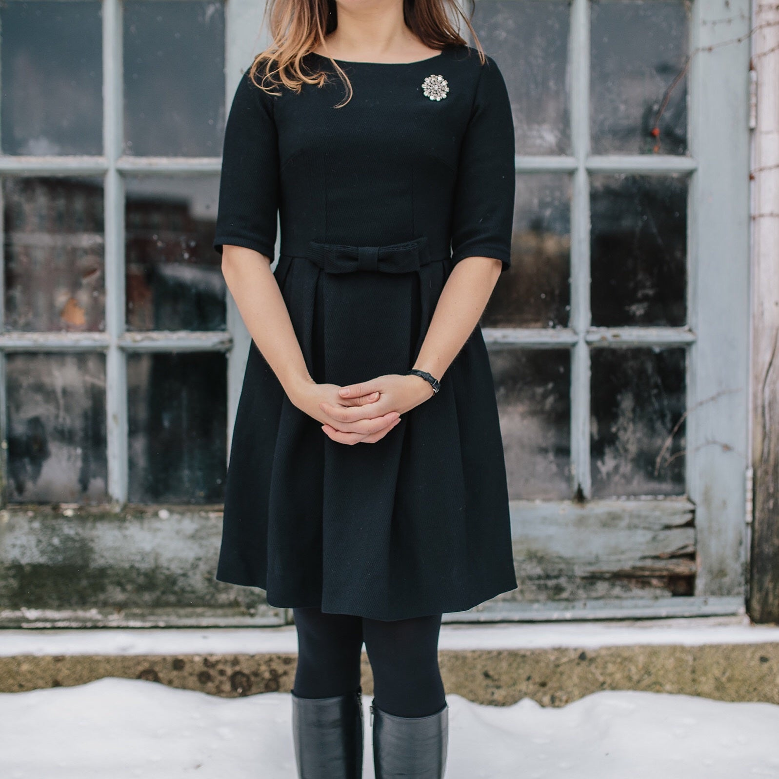 Black Wool Emery Dress