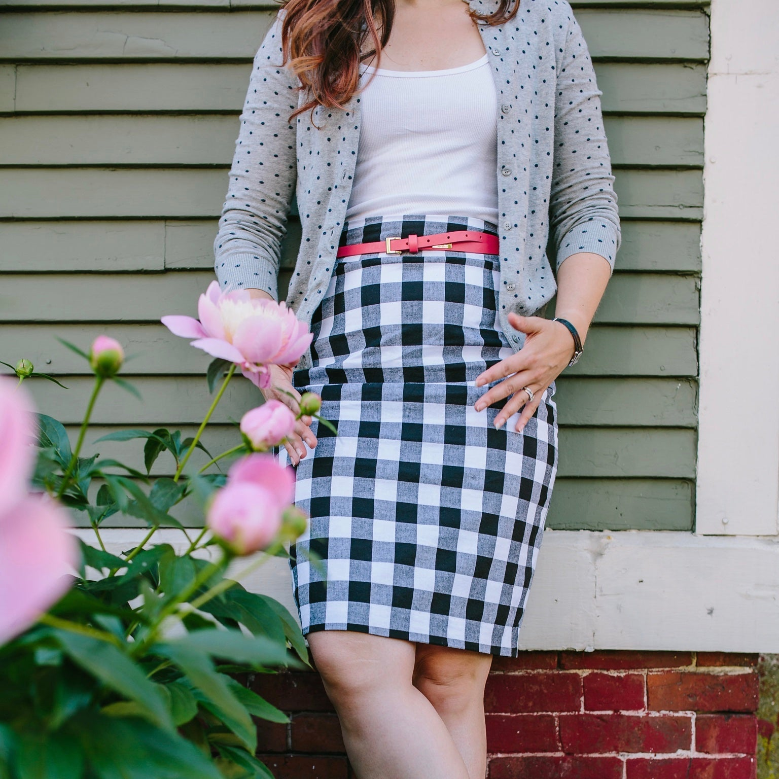 Black + White Checkers Pencil Skirt