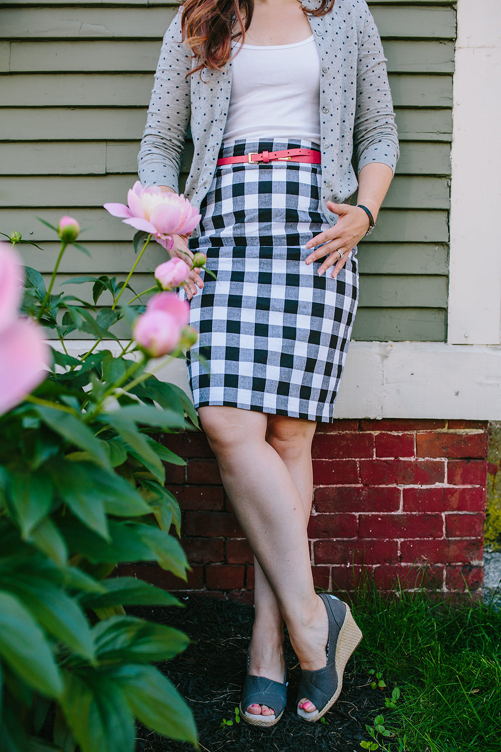 Gingham Pleated Pencil Skirt
