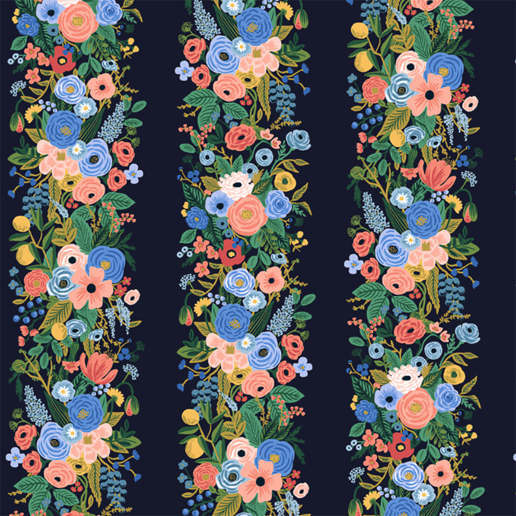 Garden Party Vines Blue Rayon