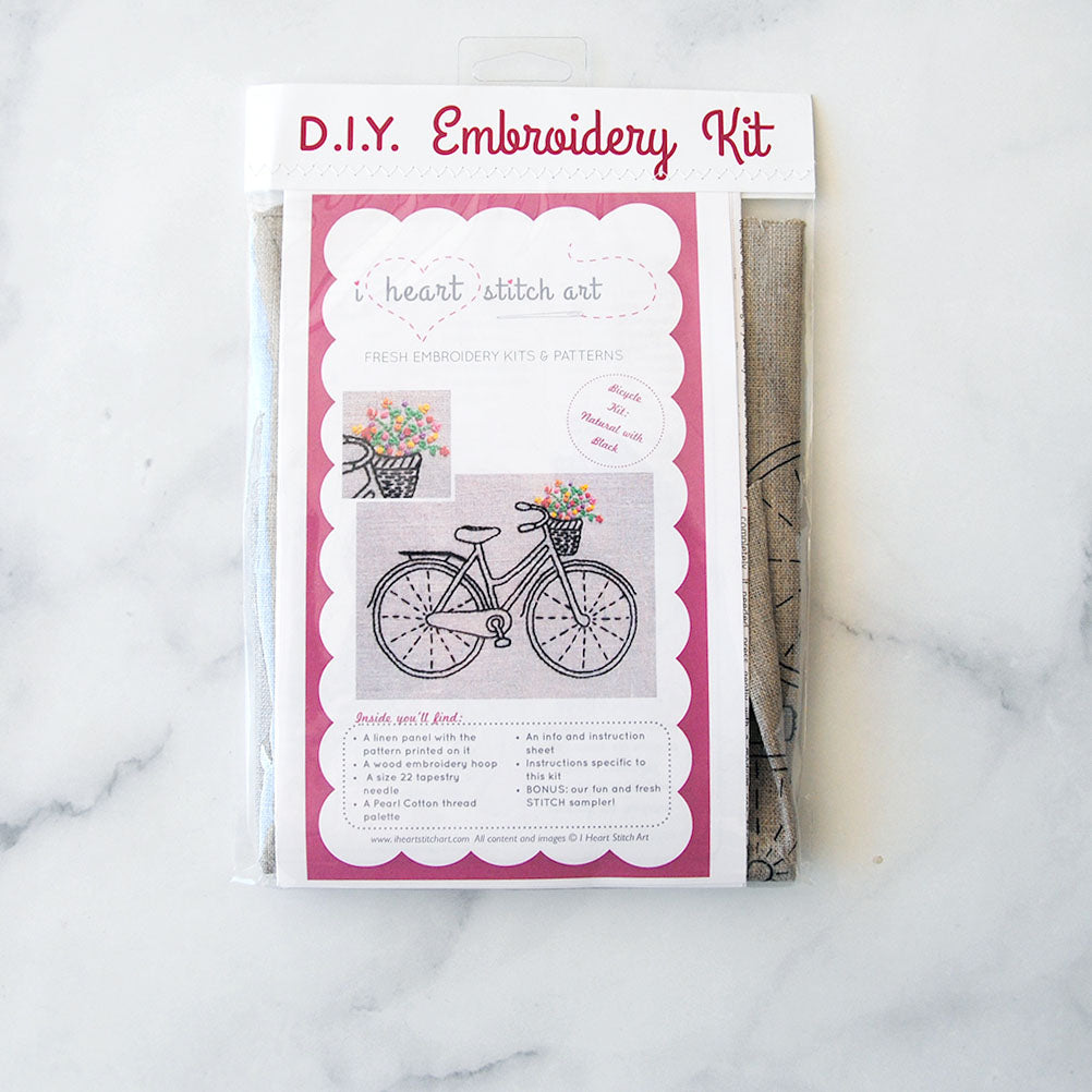 Bicycle Embroidery Kit - natural/black