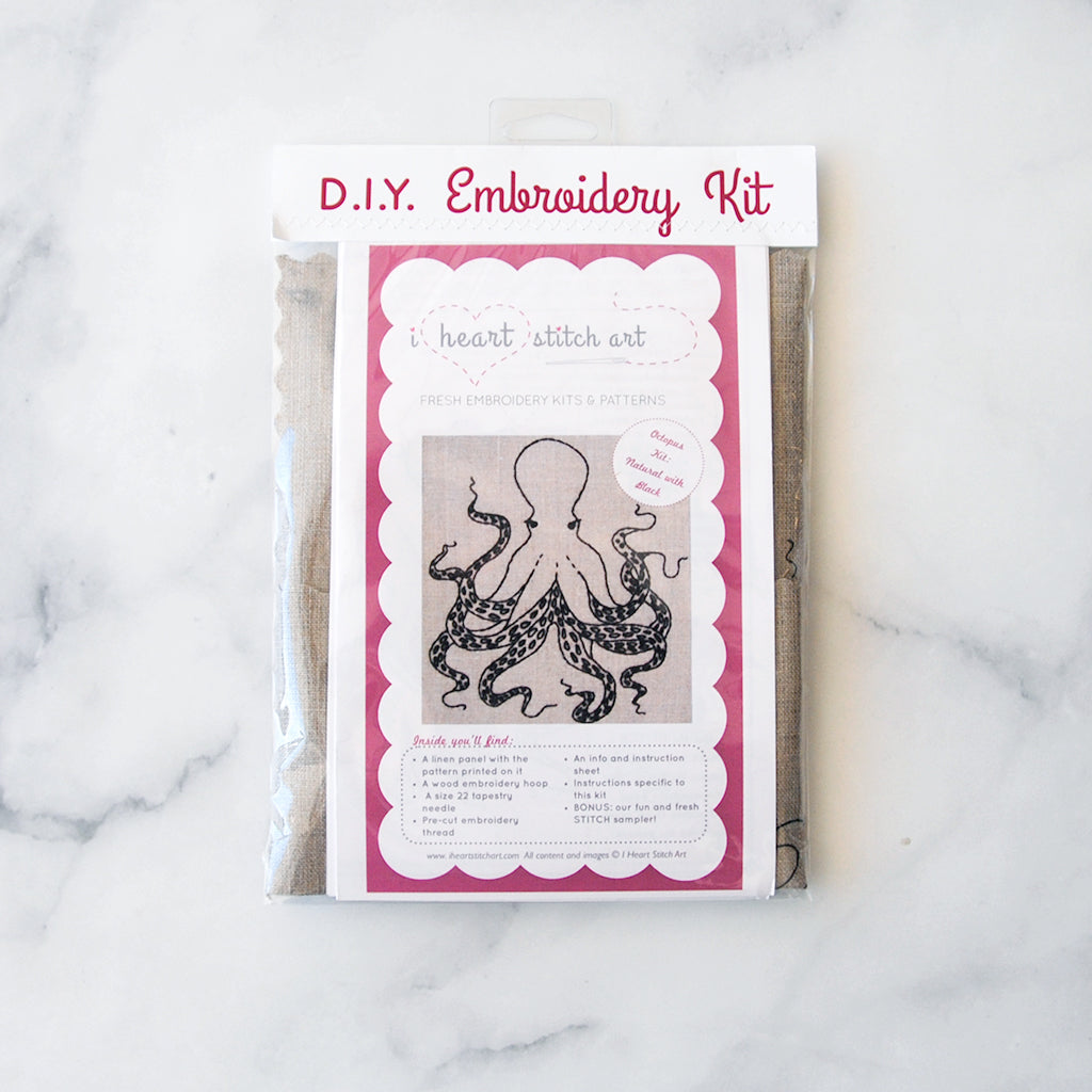 Octopus Embroidery Kit - natural/black