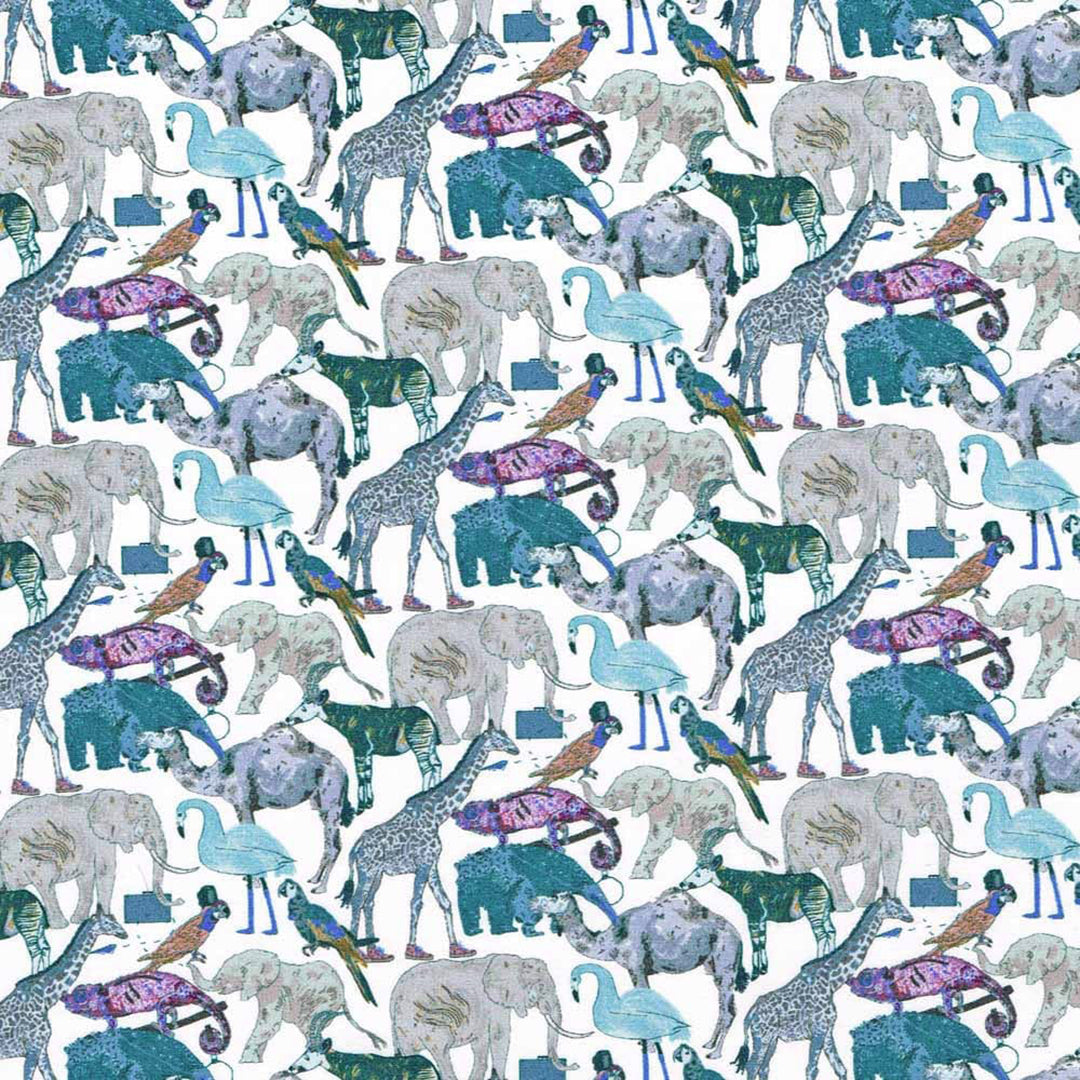 Liberty Tana Lawn Queue At the Zoo Blue