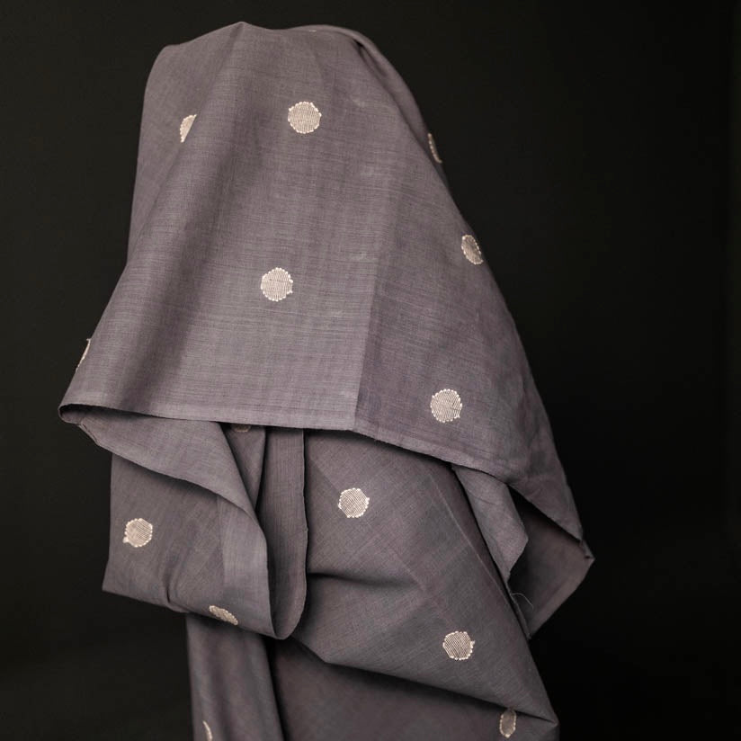 Indian Jamdani Grey Spot Cotton