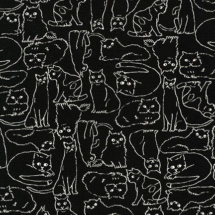 Cotton Flax - Cats in Black
