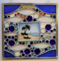 The Beach - fun stained glass sun catcher panel.
