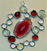 Stained glass sun catcher we call a Hubble Bubble.  Contains braziian agate.
