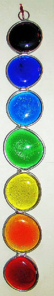 Chakra, size large.  Sun catcher with brighly colored stained glass nuggets.