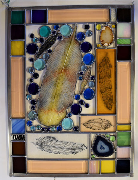 Custom - 2.  One of a kind stained glass panel ready to go.