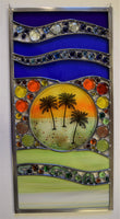 Three Palms.  Stained and fused glass window hanging.