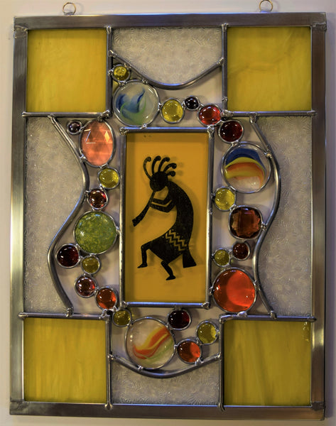 Kokopelli 1.  Beautiful stained glass panel.