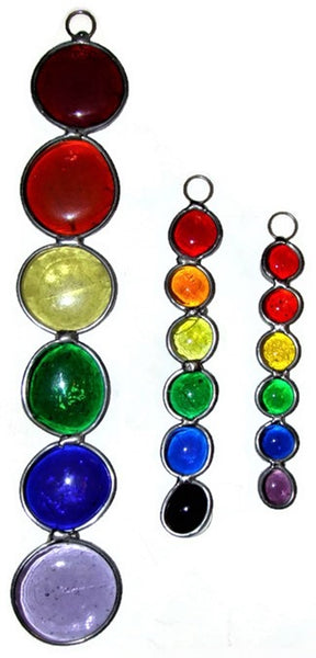 Rainbow - Large size sun catcher made with glass nuggets.