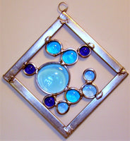 "4"" Square stained glass sun catcher."