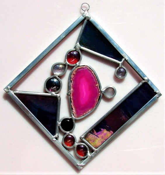 Medium 8 inch stained glass sun catcher we call a Color Square.  Contains Brazilian. agate.