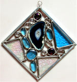 "10"" Square stained glass sun catcher with Brazilian agate.."
