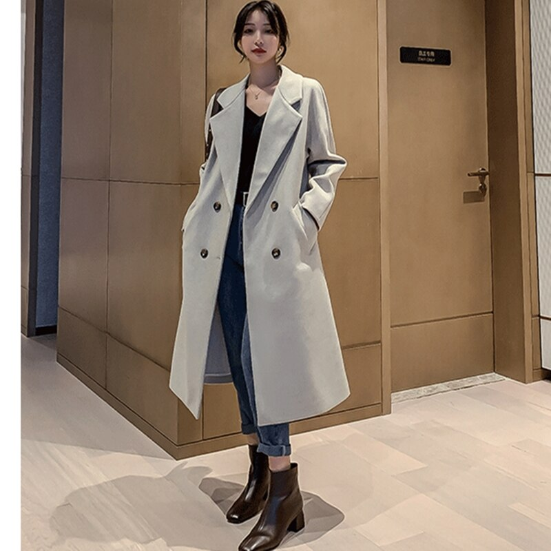 Manteau long nude à double boutons