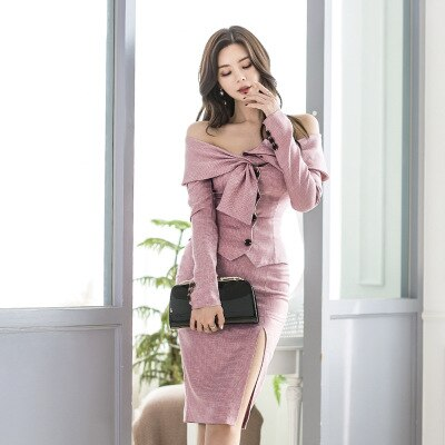 Ensemble rose jupe et haut off shoulders noué