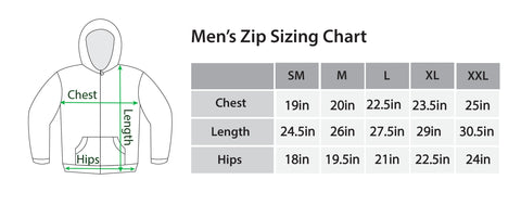 Kiss The Rain Men's Zip sizing chart