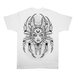 Widow Maker Unisex T-Shirt by Sponosred Artsist Stephanie Houldsworth Spider Black Widow White Tee