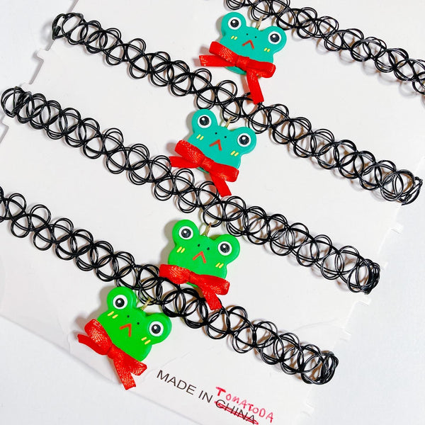 Green Frog Choker Necklace