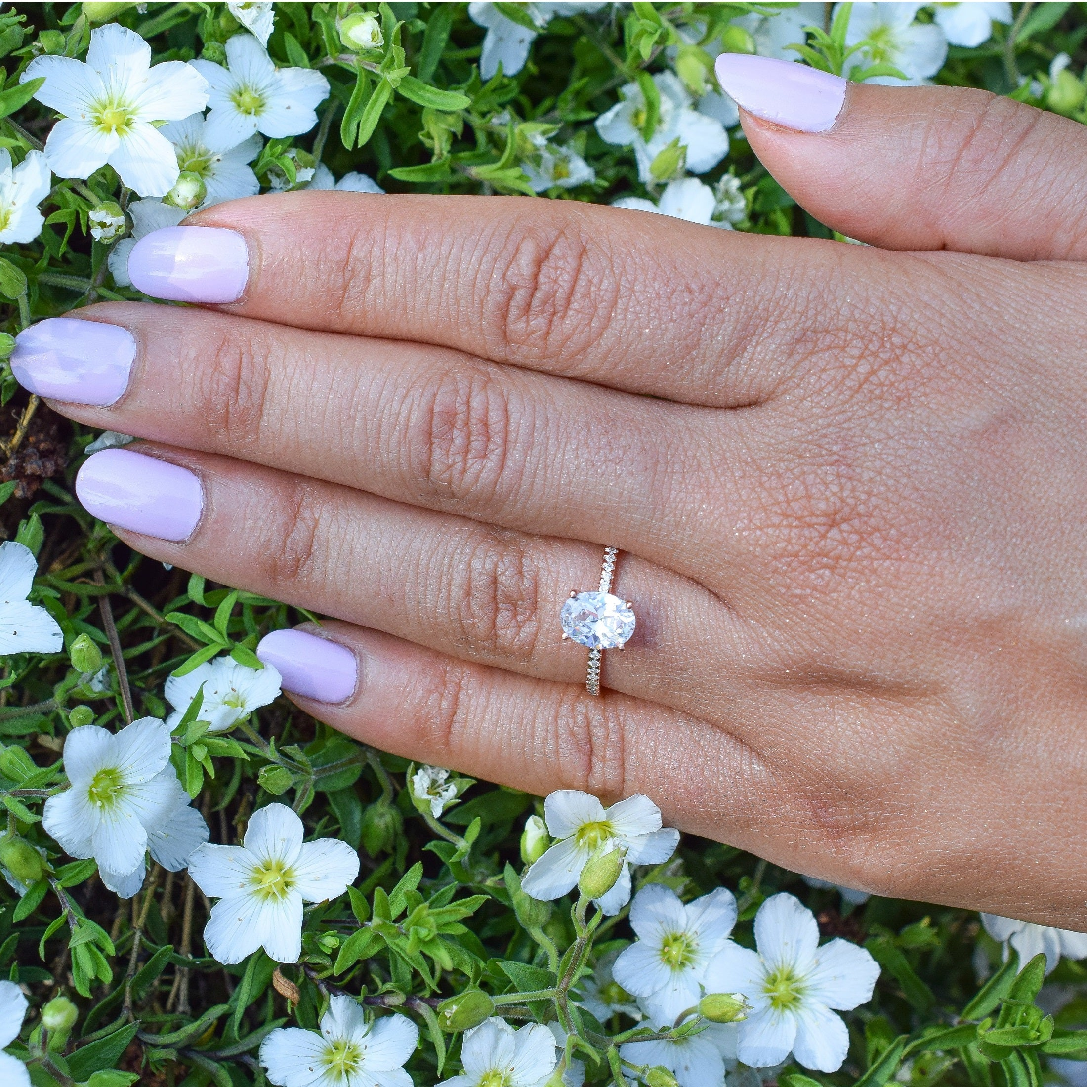 Affordable Rose Gold Oval Engagement Ring Diamond Ring Solitaire Ring Verona Jewels