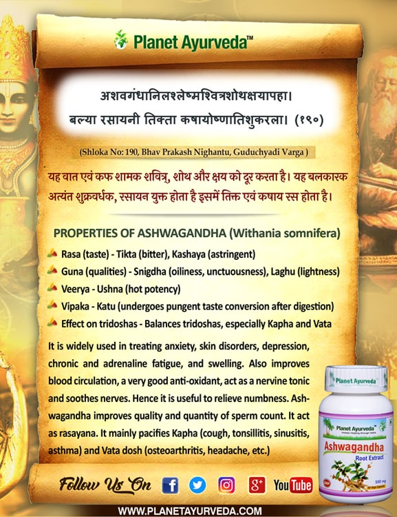 Authentic Ayurveda Information, Classical Reference of Ashwagandha