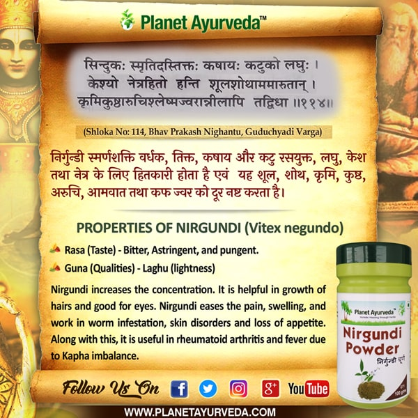 Authentic Ayurveda Information, Classical Reference of Nirgundi