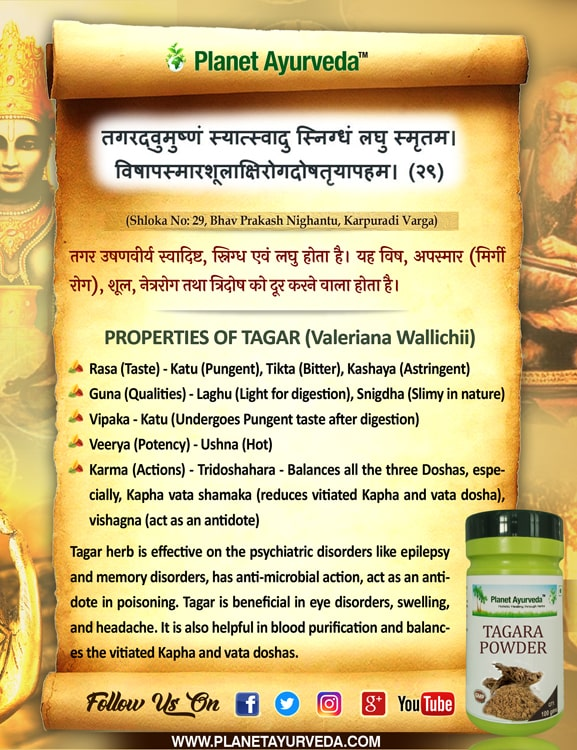 Authentic Ayurveda Information, Classical Reference of Tagara