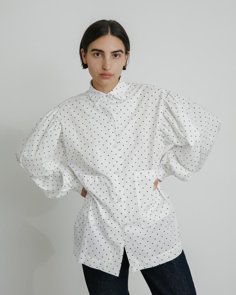 Mish Top in Baby Blue/Black Polkadot