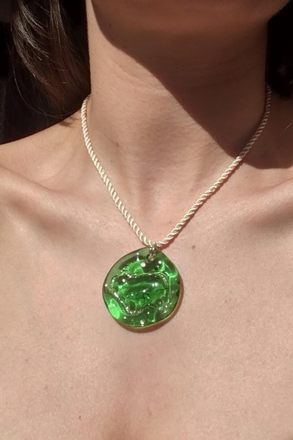 New Ovella Necklace in Green + Cream