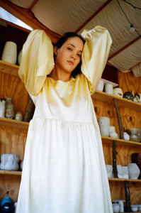 Jayme Dress in Lemon Silk Charmeuse
