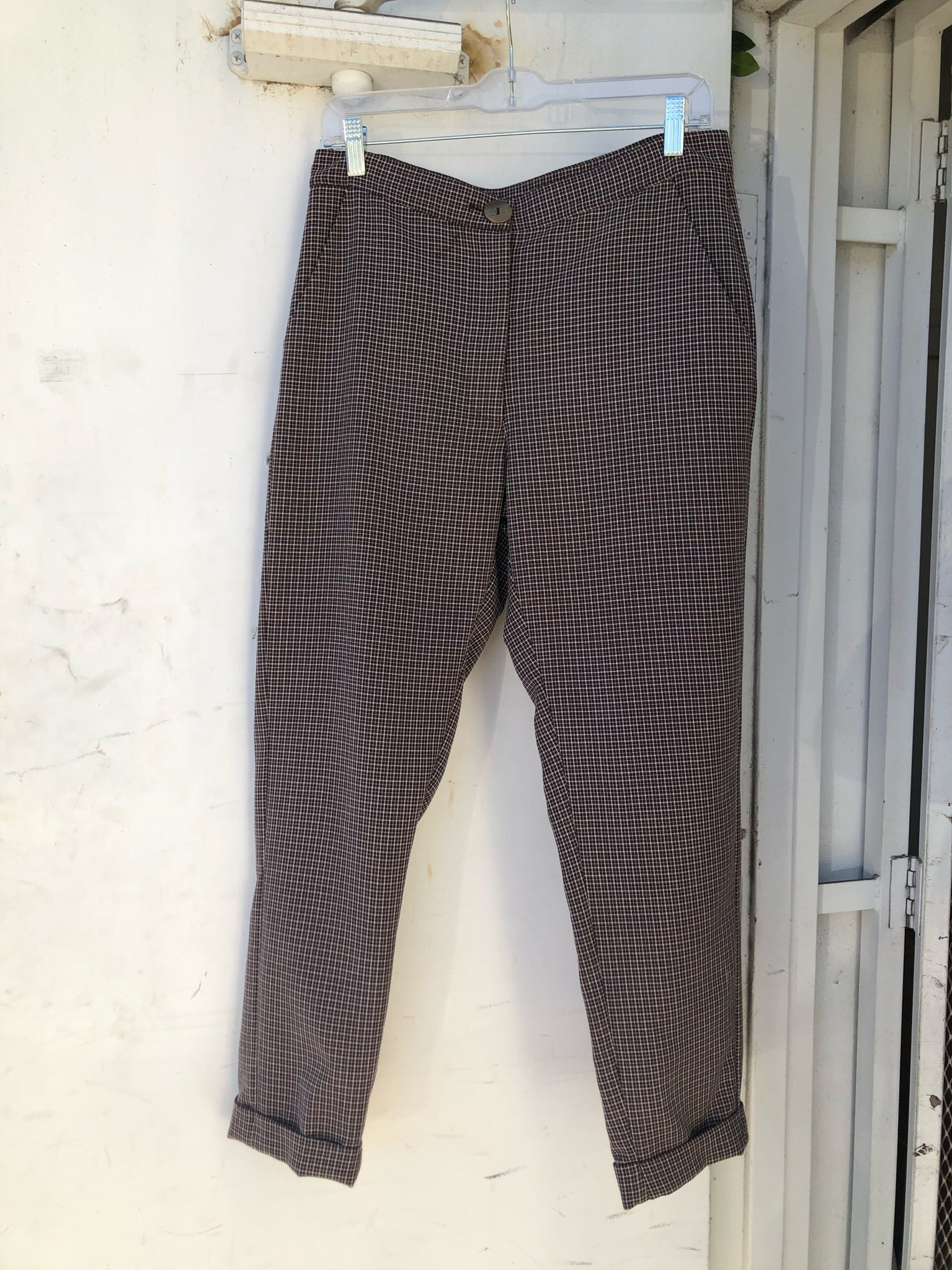 Dayandra Pant in Brown-Checkered - Size S