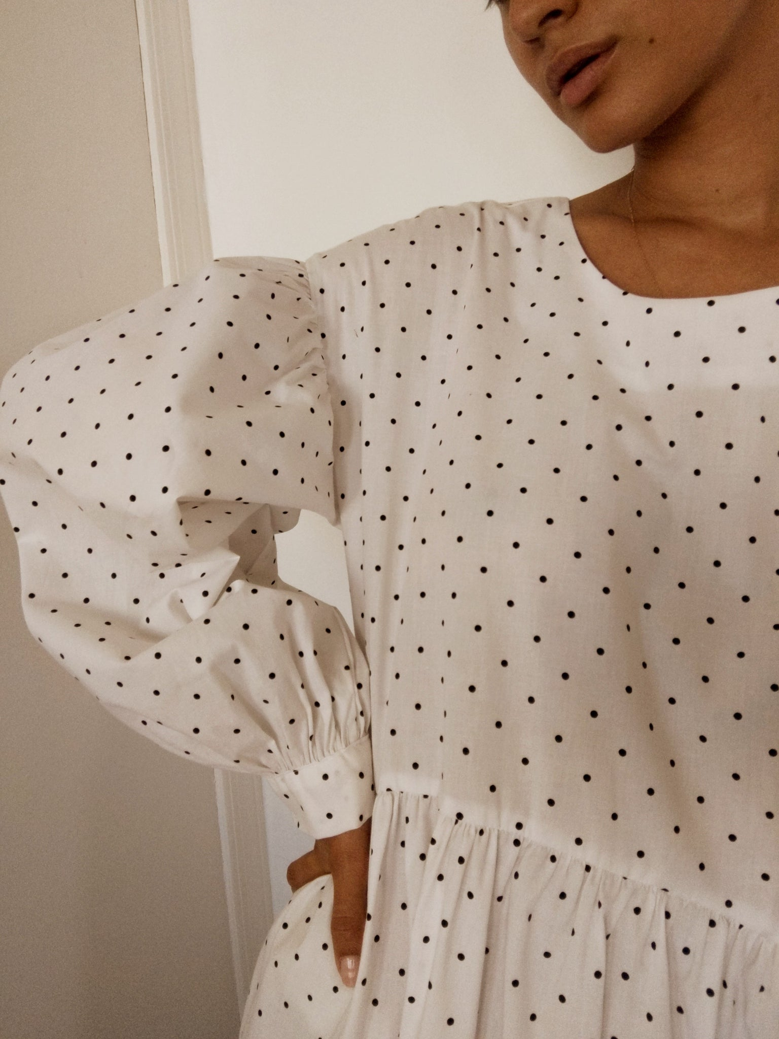Jayme Dress in White w/ Black Dots