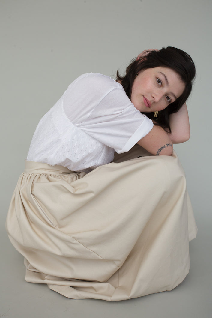 Vanessa Skirt in Cream Canvas