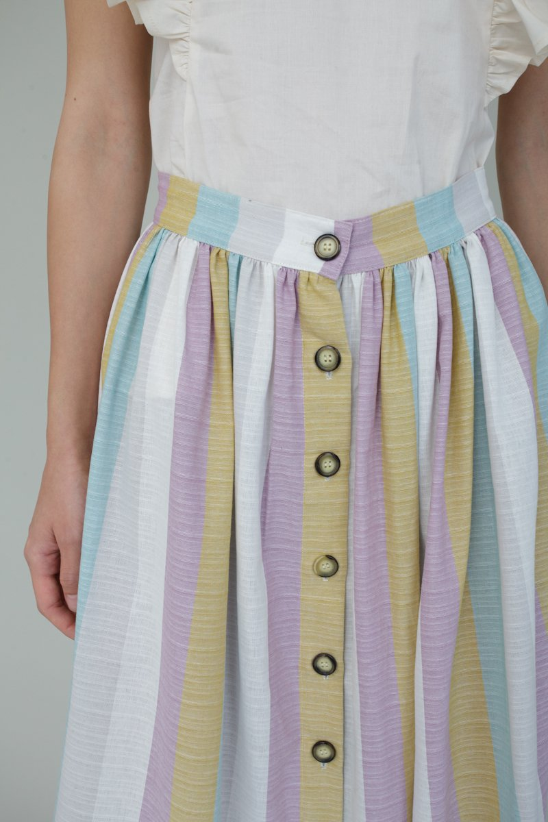 Alyssa Skirt in Multi stripe - Sizes S, M, L