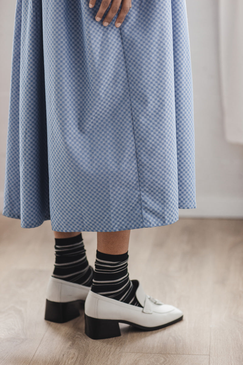 Jayme Dress in Light Blue Check
