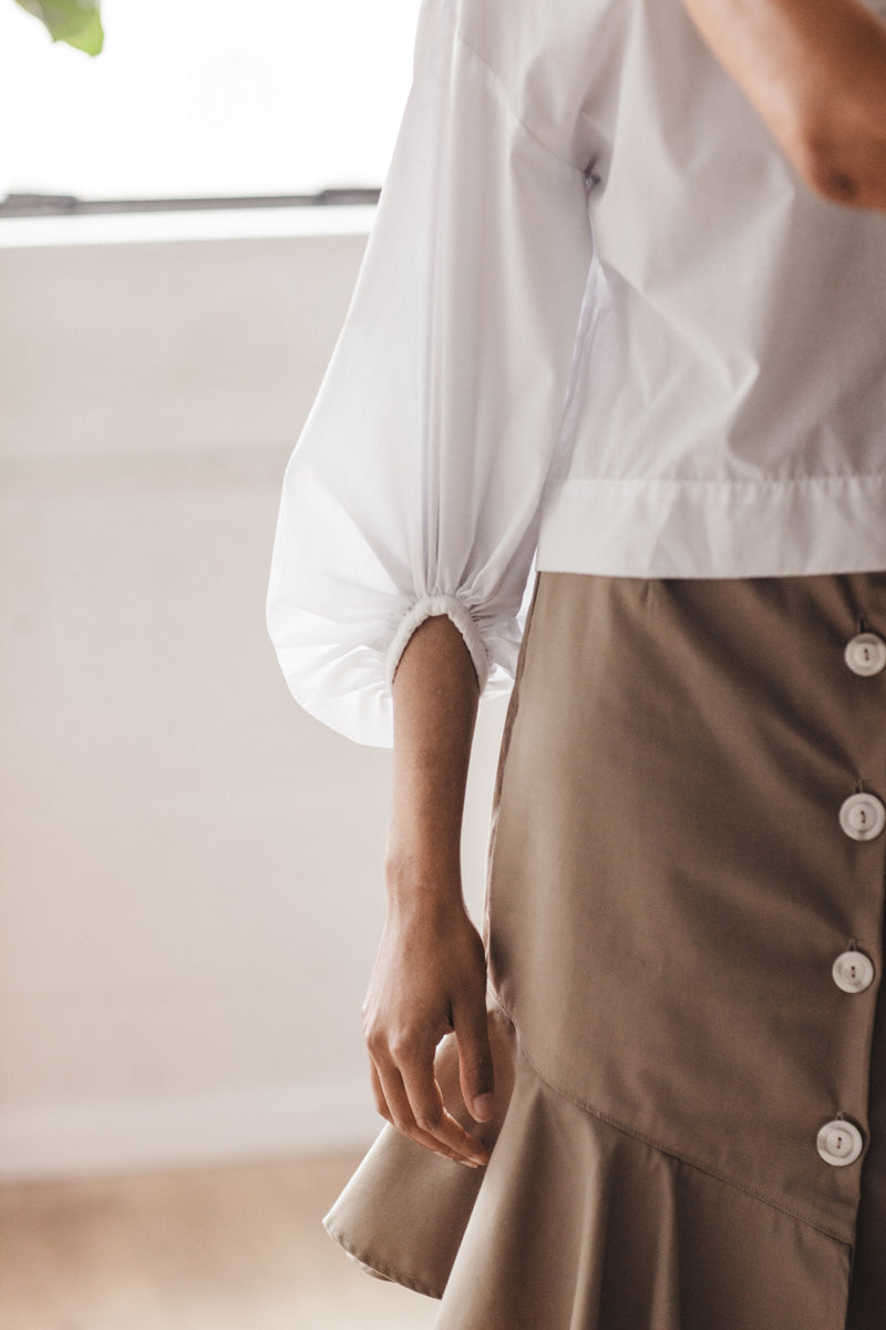 Ruby Skirt in Tan Twill - Sizes S, M