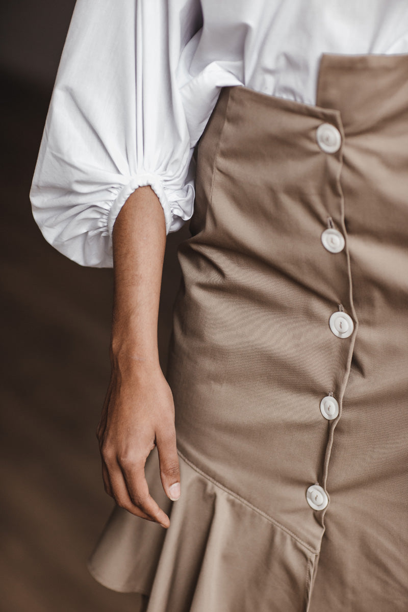 Ruby Skirt in Tan Twill