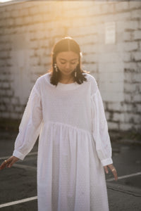 Jayme Dress in White Textured Dots