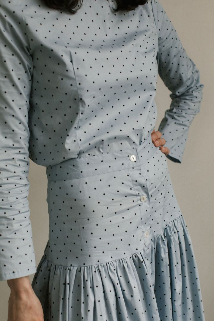 Parker Skirt in Baby Blue Polka Dot