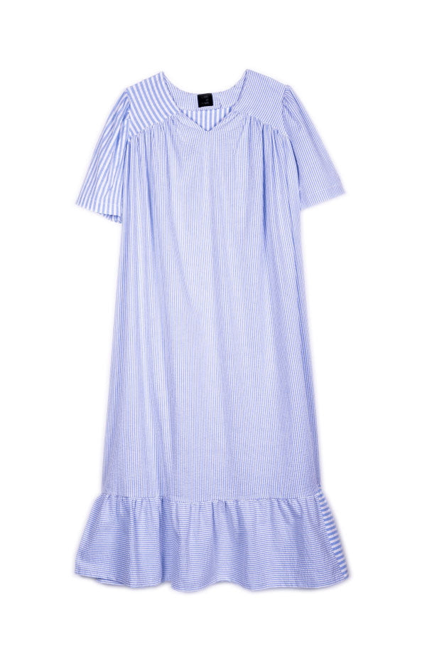 Rolf Dress in Blue Seersucker