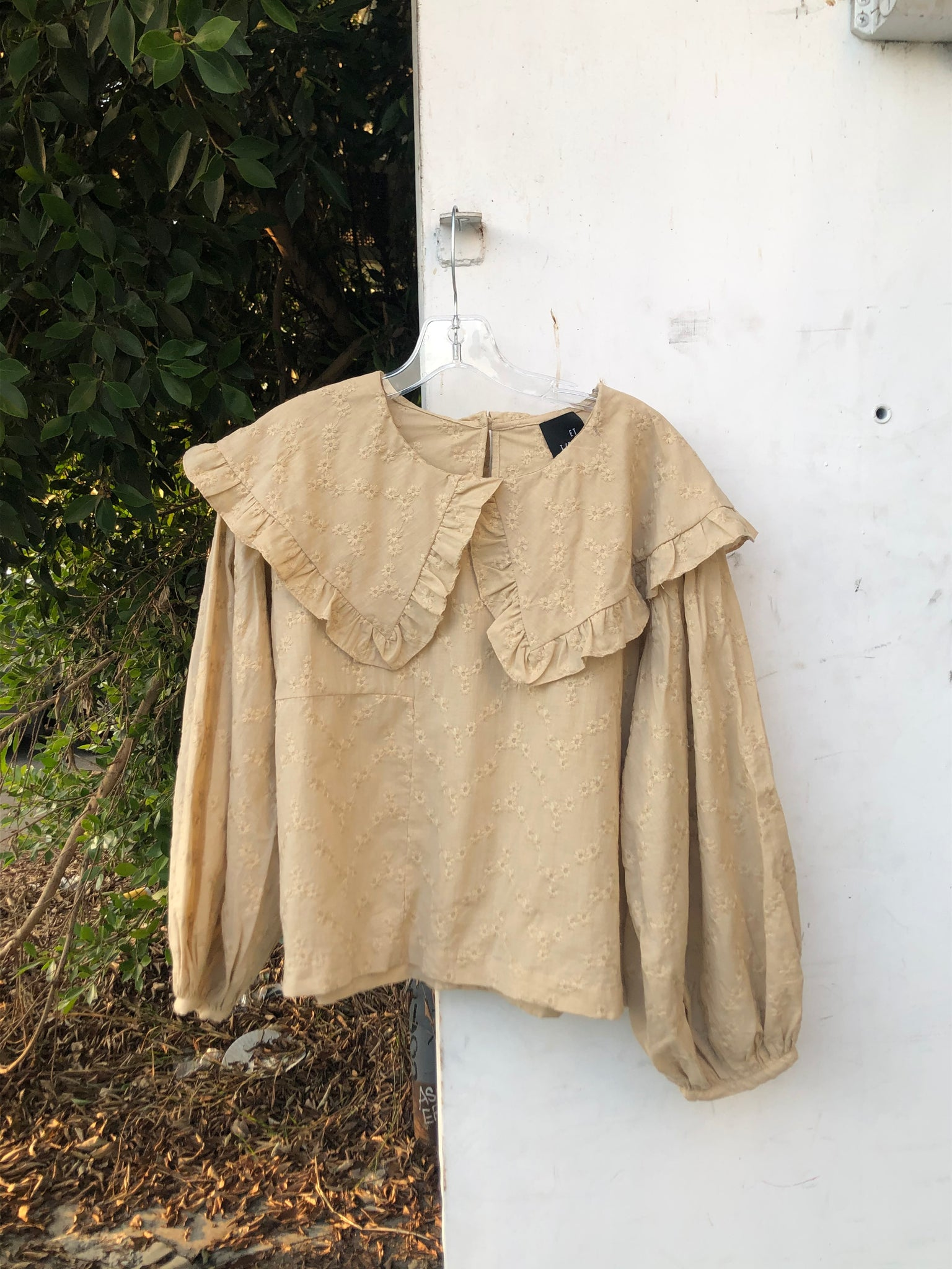 Faithe Top in Tan Eyelet