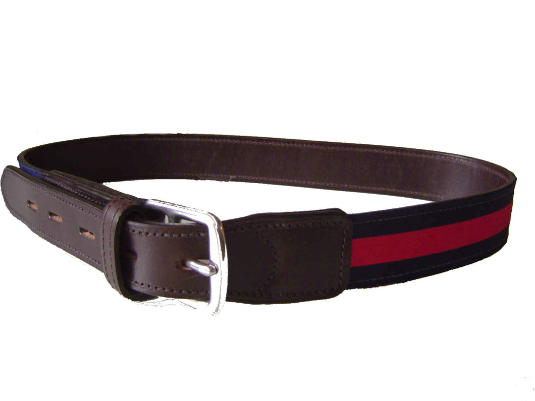 BELT:  LEATHER WITH STRIPE DETAIL red x navy