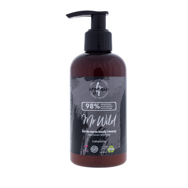 4Organic Beard and Face Cleansing Gel Mr Wild cypress-ginger 200ml - 4Organic