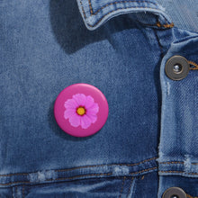 Load image into Gallery viewer, Pink flower button Pin