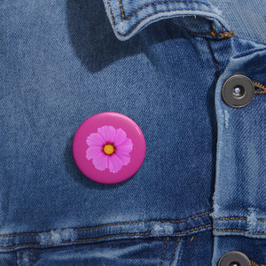 Pink flower button Pin